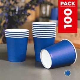Pack 75 gobelets carton bleu marine + 25 Gratuits.