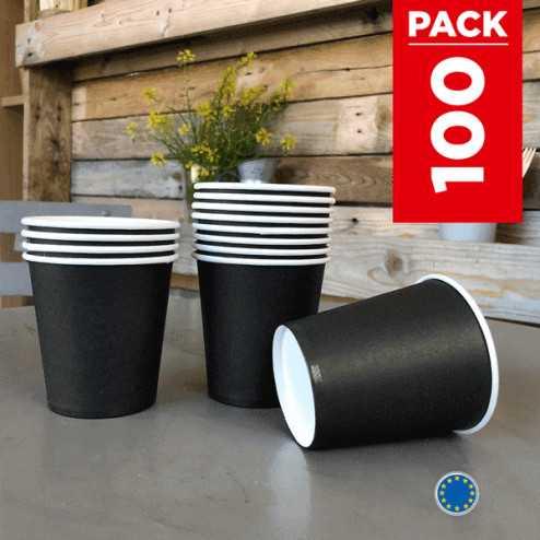 Pack 75 gobelets carton noirs + 25 Gratuits.
