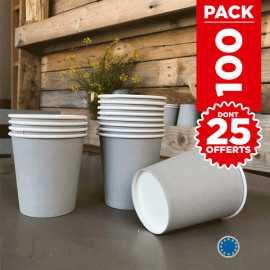 Pack 75 gobelets carton gris + 25 Gratuits