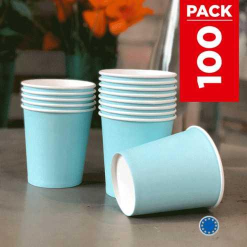 Pack 75 gobelets carton bleu pastel + 25 Gratuits