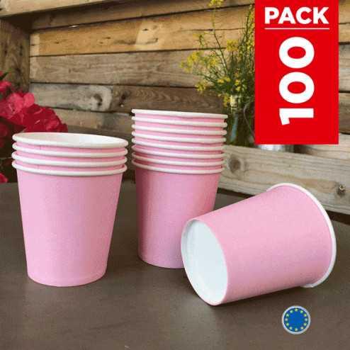 Pack 75 gobelets carton rose + 25 Gratuits.