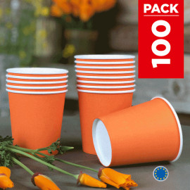 Pack 75 gobelets carton mandarine + 25 Gratuits.