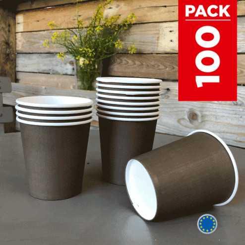 Pack 75 gobelets carton chocolat + 25 Gratuits.
