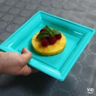 Pack 48 assiettes carrées style lagon.