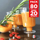 Pack 60 mini-verrines sur pied + 20 gratuites Recyclables - réutilisables