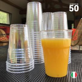 Gobelet cristal transparent 25 cl. Recyclable. Par 50.
