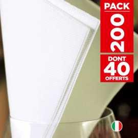 200 serviettes papier blanc soft 38 x 38cm