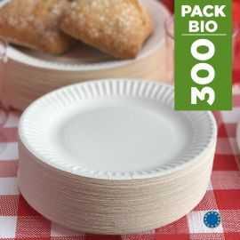 Pack 300 Assiettes carton 18cm. Biodégradables. Blanches.