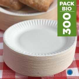 Pack 300 Assiettes carton 23cm. Biodégradables. Blanches.