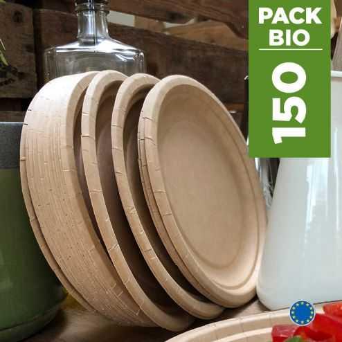 Pack 150 Assiettes kraft 17cm. Biodégradables - Compostables.