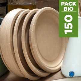 Pack 150 Assiettes kraft 22cm. Biodégradables - Compostables.