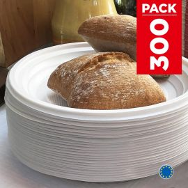 Pack 300 Assiettes style 17cm. Recyclables. Blanches