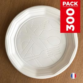 Pack 300 Assiettes design 22cm. Recyclables. Blanches.