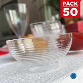 Pack 50 Mini-coupelles 6cl. Cristal Recyclables - réutilisables.