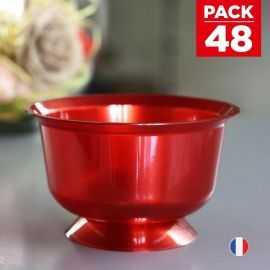 Pack 48 Coupelles Rouges Lavables - réutilisables. 23 cl.