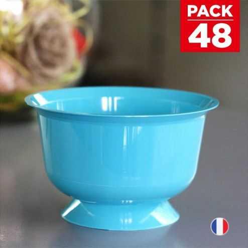 Pack 48 Coupelles Turquoise Lavables - réutilisables. 23 cl.