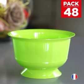 Pack 48 Coupelles Vert anis Lavables - réutilisables. 23 cl.