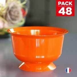 Pack 48 Coupelles Orange Lavables - réutilisables. 23 cl.