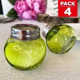 4 salières ou poivrières vertes à couvercles