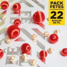 Pack 22 boules en fil scintillant Rouge-Ivoire