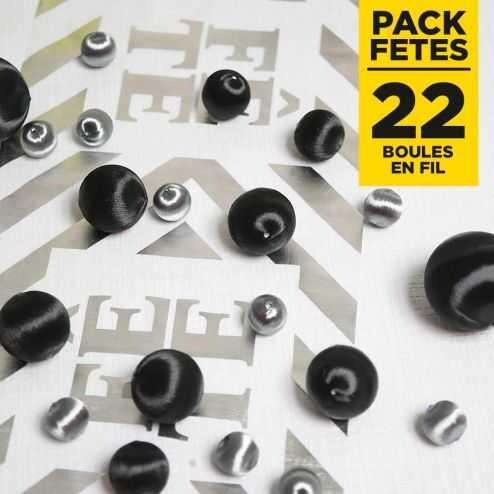 Pack 22 boules en fil scintillant Noir-Argent