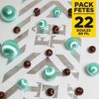 Pack 22 boules en fil scintillant Menthe-chocolat