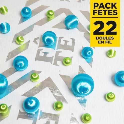 Pack 22 boules en fil scintillant Turquoise-vert
