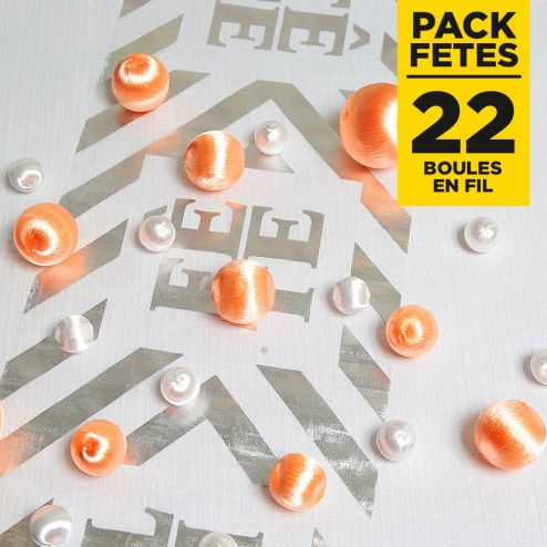 Pack 22 boules en fil scintillant Corail-Blanc