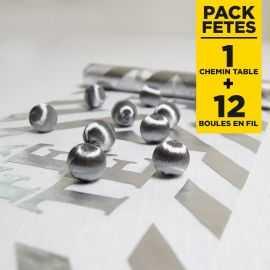 Pack chemin de table fête + 12 boules argent en fil scintillant