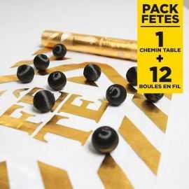Pack chemin de table fête + 12 Boules noires en fil scintillant