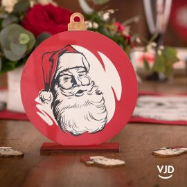 Déco de table rouge d'antan sur socle, dessin père Noël.