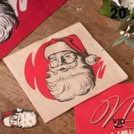 20 Serviettes papier 16 X 16 cm. Père Noël d'antan.