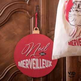 Suspension en bois 100% merveilleux Noël d'antan.