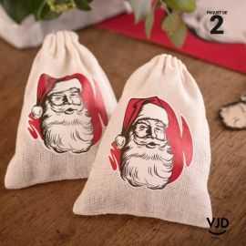 2 petits sacs à cadeaux en toile coton Père Noël d'antan.