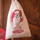 Sac à cadeau en toile coton Père Noël d'antan.