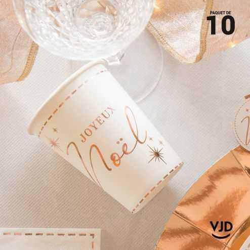 10 Gobelets carton déco Joyeux Noël.