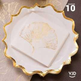 10 assiettes carton festonnée blanche et or 22,5 cm