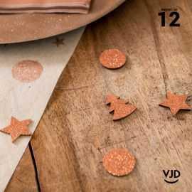12 confettis guirlande de Noël rose gold. En bois