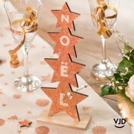 Décoration sapin Noël paillettes rose gold 27 cm