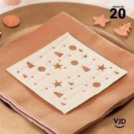 20 Serviettes papier Guirlande de Noël or 12,5 X 12,5 cm.