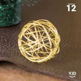 12 petites boules métal or 3 cm
