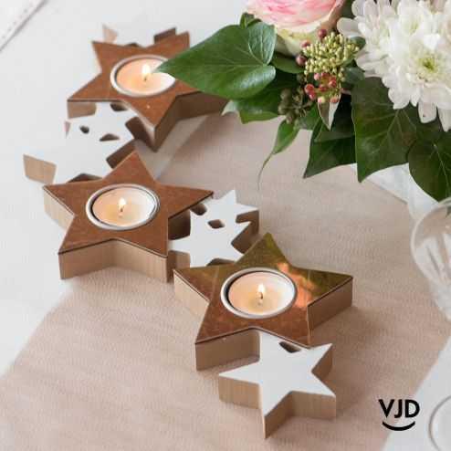 Porte bougies bois en ruban d'étoiles rose gold