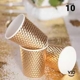 10 Gobelets carton or martelé 20 cl