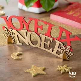 Lettres Joyeux Noël rouge 30 cm