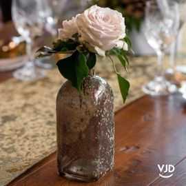 Vase en verre chocolat pailleté, 19 cm