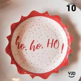10 assiettes de fête Hohoho, carton blanc et rouge fertonné