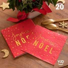 20 Serviettes papier rouge Joyeux Noël feutré 16,5 X 16,5 cm.