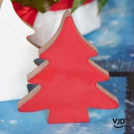 Sapin en bois, déco table de fête rouge. 12 cm