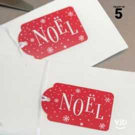 5 marques-places Noël enneigé avec ruban 16 cm
