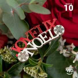10 confettis rouge Noël enneigé